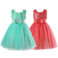 Summer Mint Green Girls Flower Formal Wedding Bridesmaid Party Christening Princess Girls Dress Kids Clothes Robe