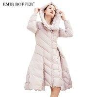 Эмир ROFFER Мода 2018 зима Для женщин пуховик юбка розовое пальто женские с капюшоном длинный утка теплая одежда большой Размеры