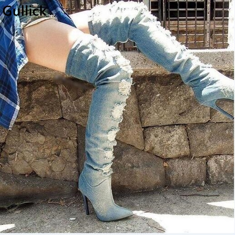 Sexy Blue Denim Over The Knee Boots Pointed Toe Ripped Jeans Tight High Boot Side Zipper High Thin Heel Shoes Woman Hollow Out 2017 runway fashion week hot denim blue over the knee boots sexy open toe high heel woman thigh high boots jeans boots kim boots
