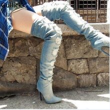 Sexy Blue Denim Over The Knee Boots Pointed Toe Ripped Jeans Tight High Boot Side Zipper High Thin Heel Shoes Woman Hollow Out(China)