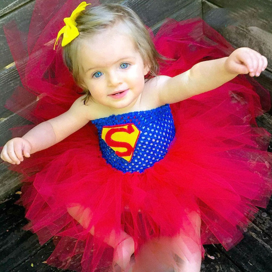 Super Baby Girls Tutu Dress Fluffy Infant Dress Red Surperman Toddler Birthday Party Clothes Halloween Costume Girls Ball Gown