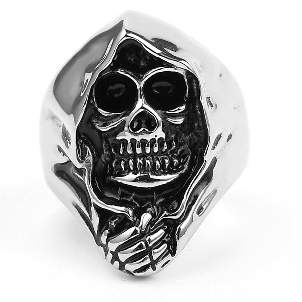Vintage Antique Silver Skull Rings Grim Reaper Zinc Alloy Punk Biker Ring Death Rings For Men Party Skeleton Ring Men's Jewelry