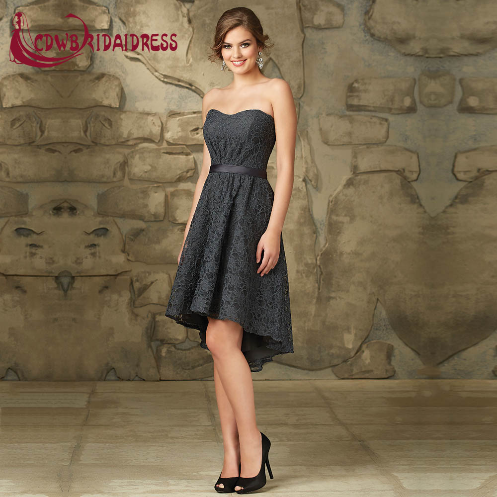 Dark gray lace bridesmaid dresses with shorter front and longer dark gray lace bridesmaid dresses with shorter front and longer back sweetheart strapless satin belt wedding party gowns in bridesmaid dresses from weddings ombrellifo Images