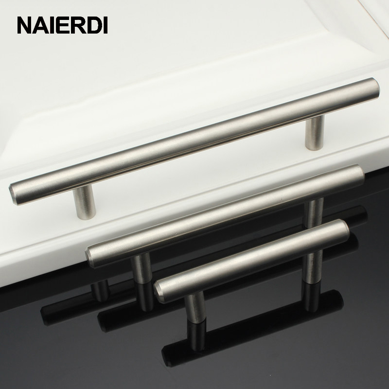 NAIERDI 4 ~ 24'' Stainless Steel Handles Diameter 12mm Kitchen Door Cabinet T Bar Straight Handle Pull Knobs Furniture Hardware 4pcs naierdi c serie hinge stainless steel door hydraulic hinges damper buffer soft close for cabinet kitchen furniture hardware