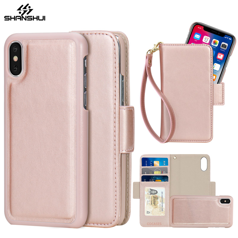 Detachable PU Leather Case for iPhone 7 8 X 6 Plus 5 SE