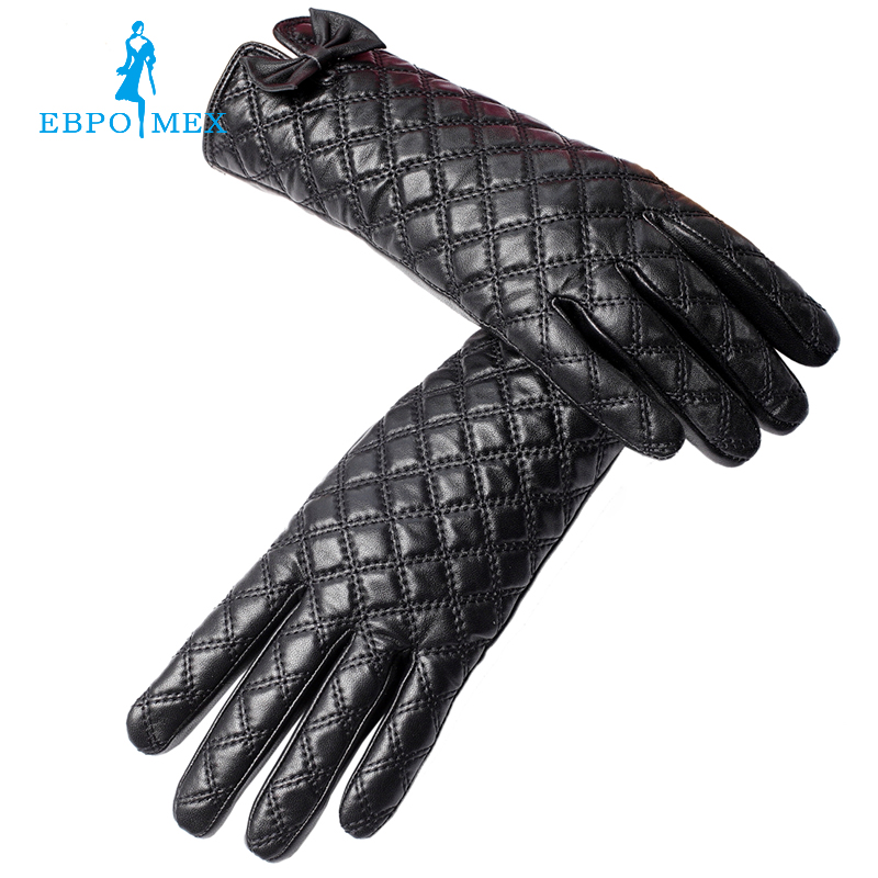 Creamy-white leather women gloves,Floral,Genuine Leather,gray checkered leather gloves,Leather gloves for women,Female gloves