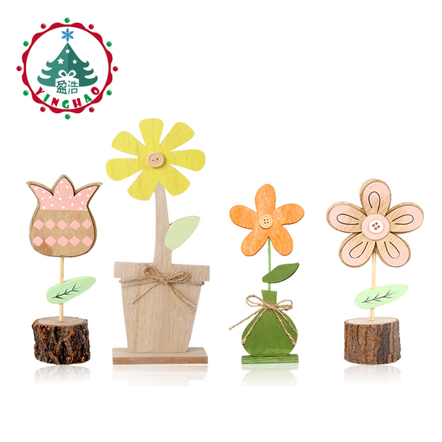 Inhoo 4pcs Spring Wooden Crafts Pink Tulips And Yellow Flowers Ornament Office Desk Home Accessories Room