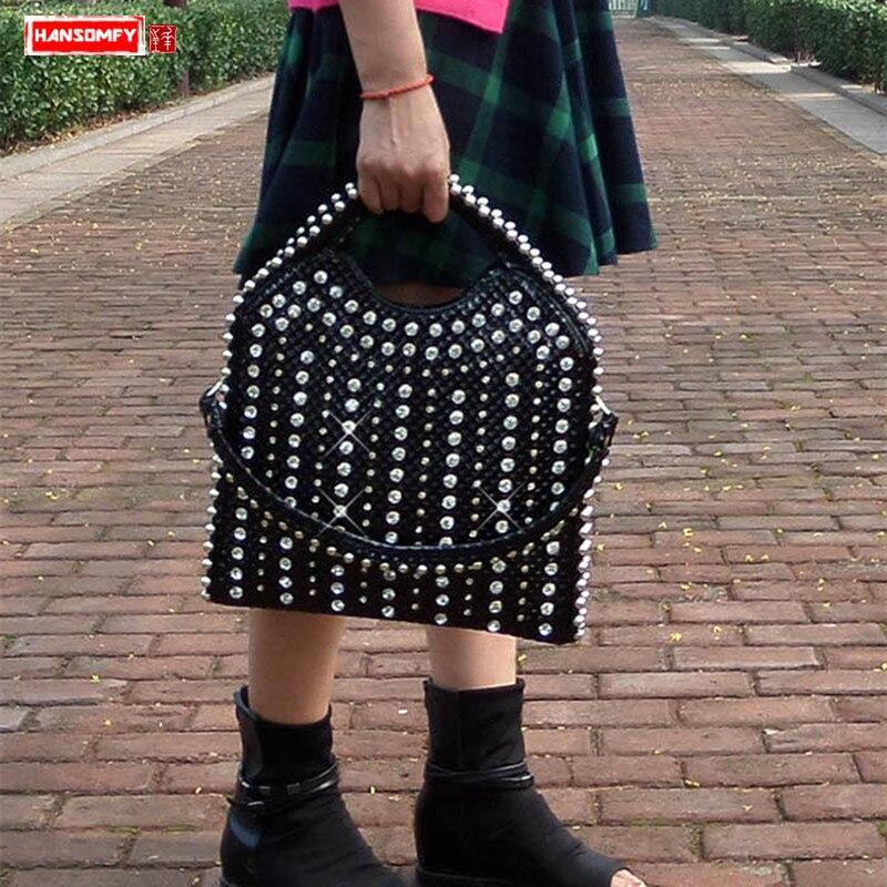 2019 New diamonds Women handbag patent leather fashion rhinestone shoulder bag female large capacity messenger crossbody