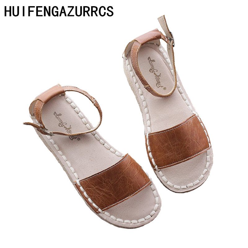 HUIFENGAZURRCS- 2018 summer women real leather Sandals,art Retro - Women's Shoes