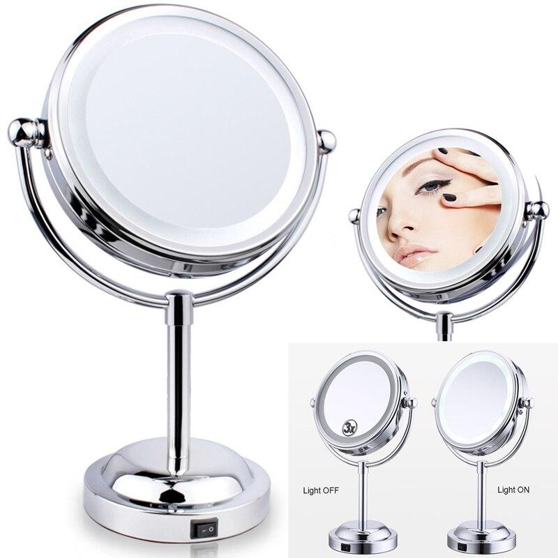 6 Inch LED Makeup Mirror 360 degree European Design Desktop Creative Circular Mirror 3x Bathroom Make