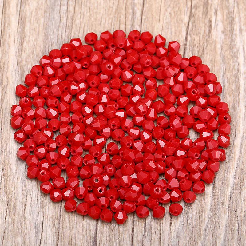 Rojo 100pc 4mm Austria cristal bicono cuentas 5301 DIY pulsera accesorios de fabricación de joyas S-6