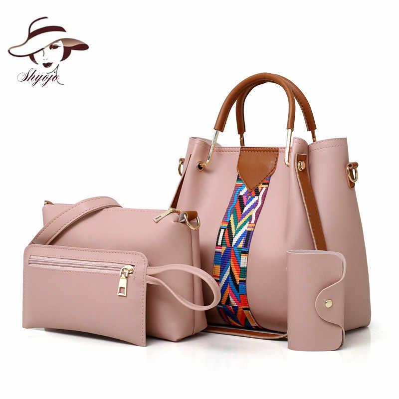 fabdb2069e8d Модная женская шт. сумка 4 шт. набор топ-ручка большой емкости женская сумка