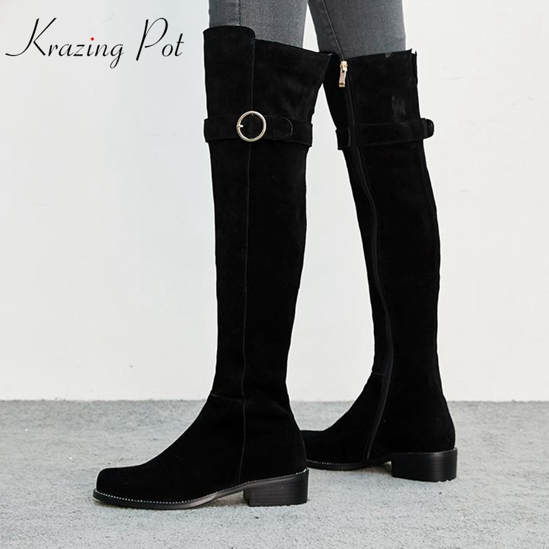 krazing pot cow suede full grain leather round toe office lady stovepipe long boots high heels round zipper thigh high boots L28 krazing pot winter kid suede cow leather patch work high heel basic boots winter zipper round toe office lady ankle boots l12