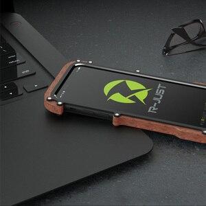 Image 4 - R just etui na iPhone 7 8 Plus, odporna na wstrząsy obudowa z drewna metalowa rama zderzak pokrywa dla iPhone 8 6 6S Plus 5 5S SE obudowa aluminiowa