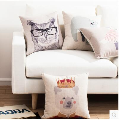 Scandinavian Animal Cushion Covers Nordic Linen Cotton Decorative bird Throw Pillow Cover For Sofa Car Cushions Home Decor Cojin