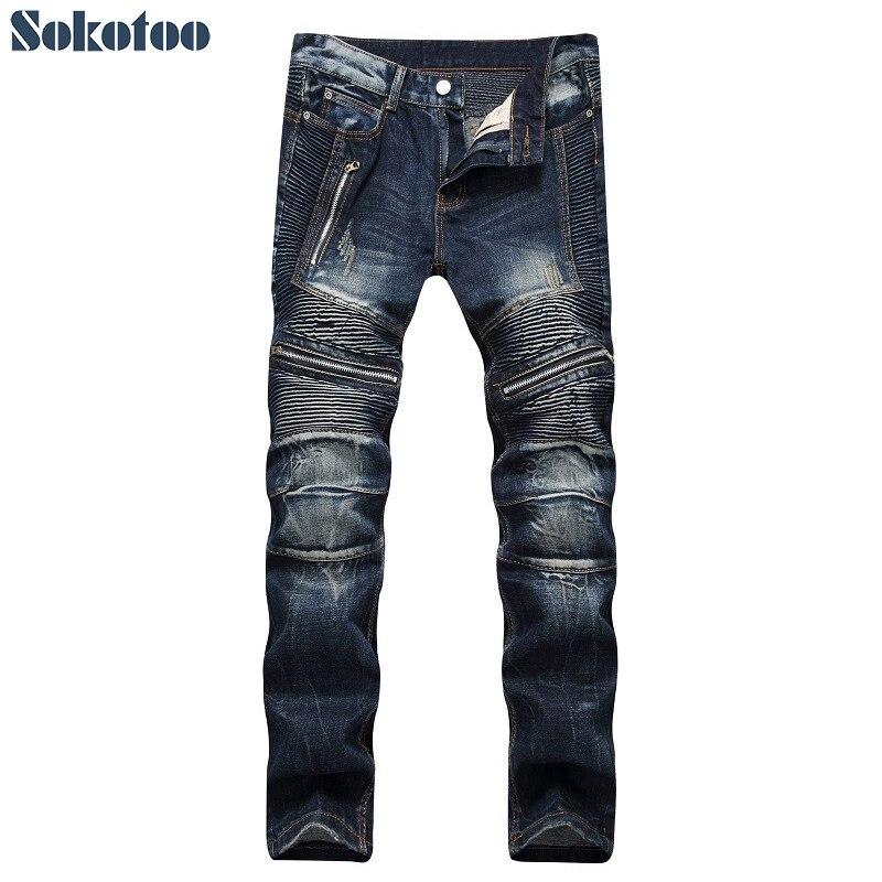 Sokotoo Men's Dark Blue Zippers Pleated Biker Jeans For Moto Slim Fit Straight Denim Pants