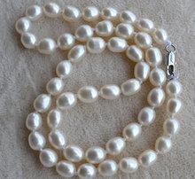 100% Real de la perla collar, Color blanco 6 – 7 mm 16 pulgadas arroz forma perlas de agua dulce collar