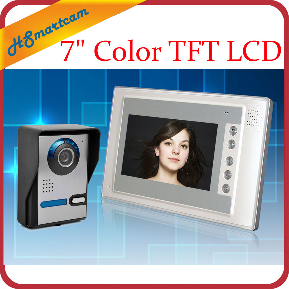 7 Color TFT LCD Video door phone Intercom Doorbell System Kit IR Camera doorphone monitor Speakerphone intercom Free Shipping