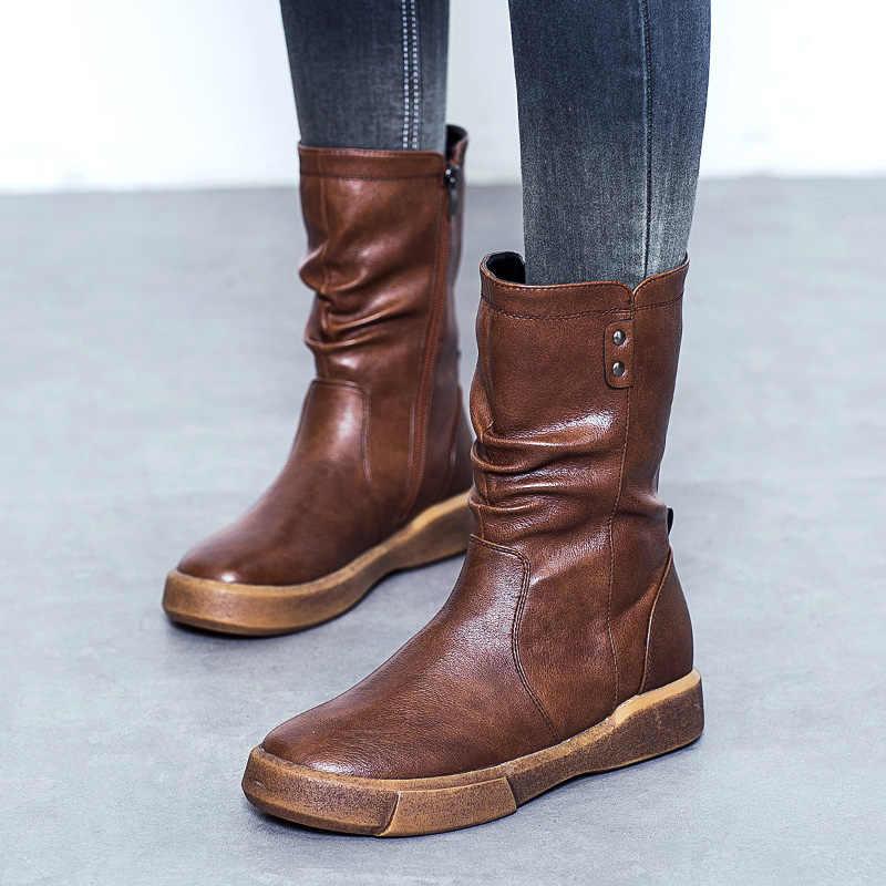 DRKANOL moda PU deri düz Martin çizmeler kadın ayakkabıları orta buzağı sıcak kar botları sonbahar kış kısa peluş daireler bayan botları