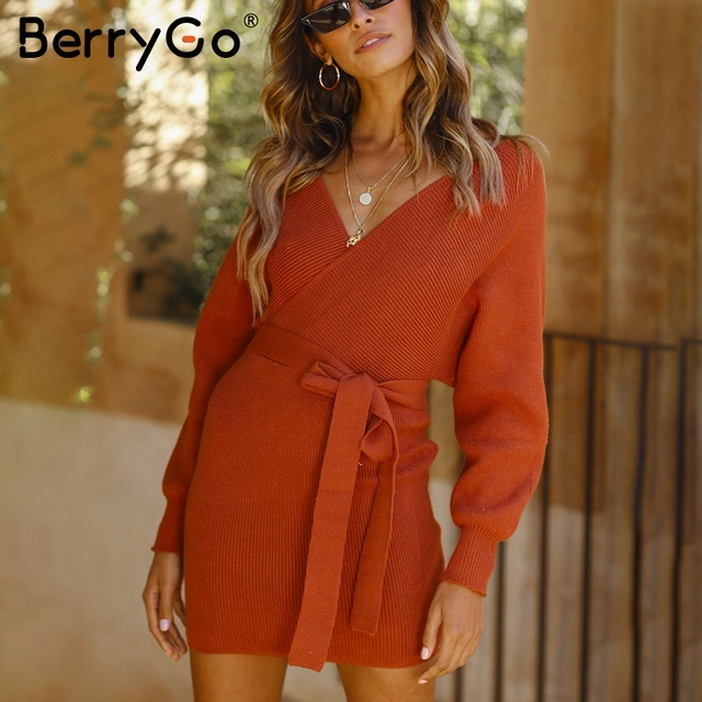 0e8dd94cbbe Berryo Sexy v neck knitted sweaters dresses Women hollow out belt autumn  dress 2018 Winter casual bodycon dress sweaters female