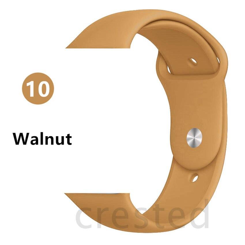 Силиконовый ремешок для apple watch 4 5 44 мм/40 мм спортивный ремешки для apple watch 3 42 мм/38 мм резиновый ремень браслет ремешок для часов apple watch Band Мягкий красочный ремешок iwatch series 4 3 2 1 - Цвет ремешка: Walnut