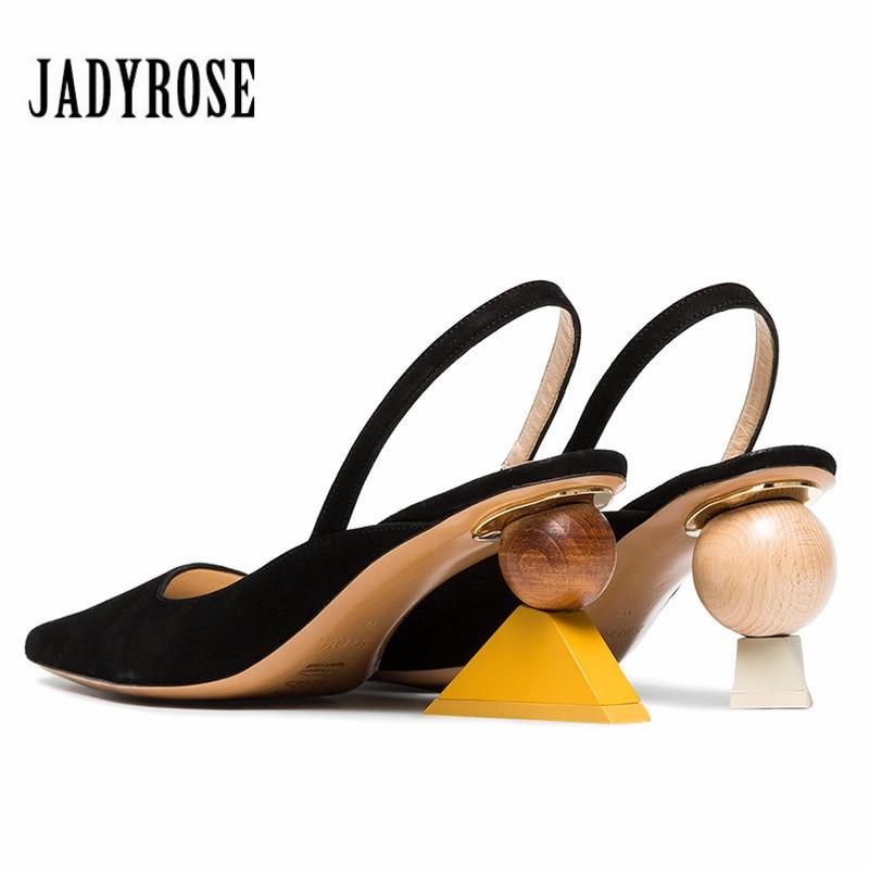Jady Rose Designer Women Sandals 8CM Strange High Heels Black Suede Summer Sandal Wedding Dress Shoes Women Pumps Valentine Shoe цены онлайн