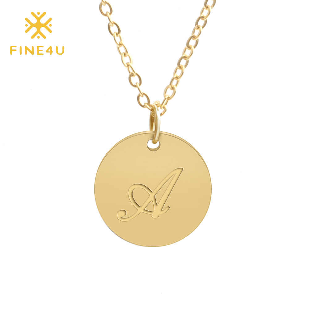 FINE4U N163 Engraved Cursive Letter Alphabet Coins Necklace Stainless Steel Choker Necklaces For Women Friendship Birthday Gifts