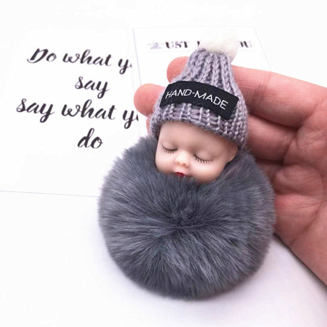 Fashion Colorful Sleeping Baby Doll Hanging Piece Hair Ball Pendant Cute Fluffy Pompom Chain Cotton Wool Holder Bag Ball Toy 5