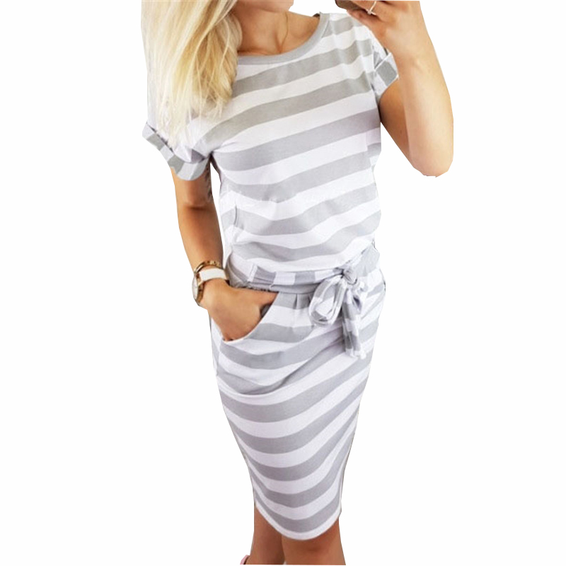 Elegant New Striped Summer Dress 2018 Women Casual Vintage Dress Sexy Bandage Bodycon Short Sleeve Dresses Sundress Robe GV560