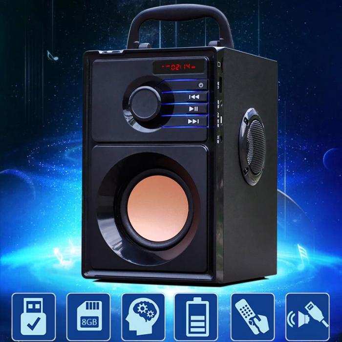 Haut-parleur Portable Bluetooth caisson de basses en bois sans fil avec une musique étonnante caisson de basses intégré Radio FM Mp3 jouer Super haut-parleur