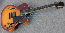 free shipping new 7 strings hollow electric guitar in orange with mahogany body for jazz music made in China LL13