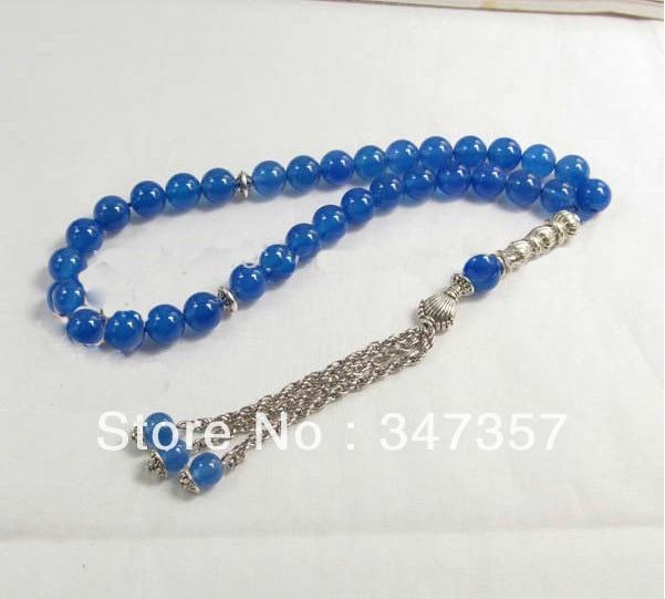 Neuer Entwurf natürliches 33 blaues Achat-Stein-Gebet bördelt 8mm - Edlen Schmuck