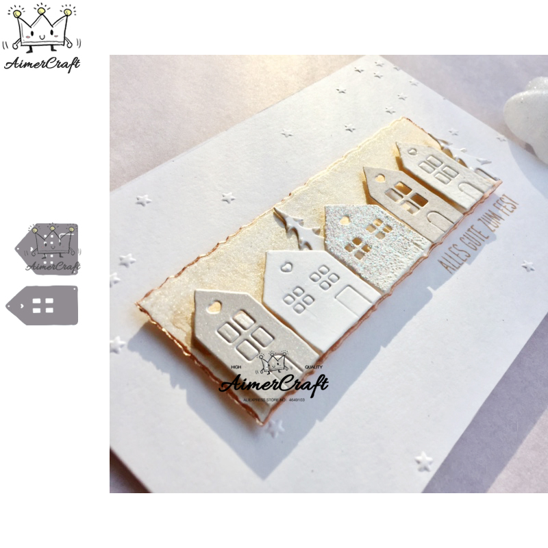 2PCS/Lot House Metal Cutting Dies Scrapbooking Stencil For DIY Paper Card Decorative Embossing Die Cut Craft Dies New 2019