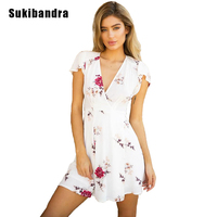 Sukibandra New Summer Short Sleeve V Neck High Waist Short Dress Floral Print Vintage Dresses Women