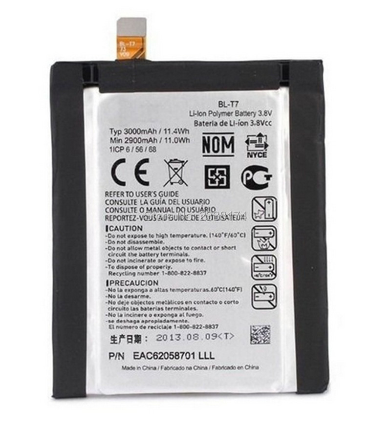 1pcs 100% High Quality BL-T7 3000mAh Battery For LG D802 D800 D803 Optimus G2 P693 T7 VS9801 Phone Freeshipping + Tracking Code