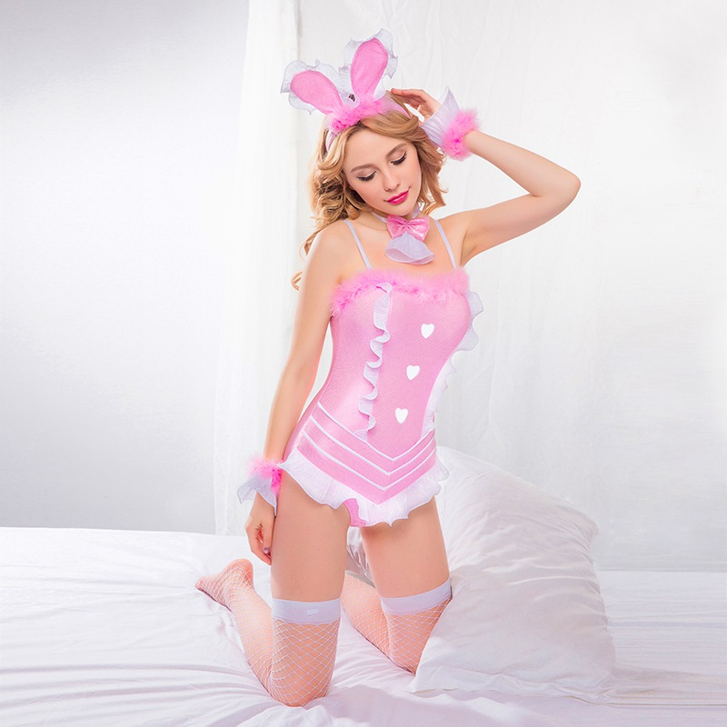 Women Naughty Pink Bunny Cosplay Costume Teen Girls Cute Role Play Bodysuit Bunny Uniform For women clubwear 6021