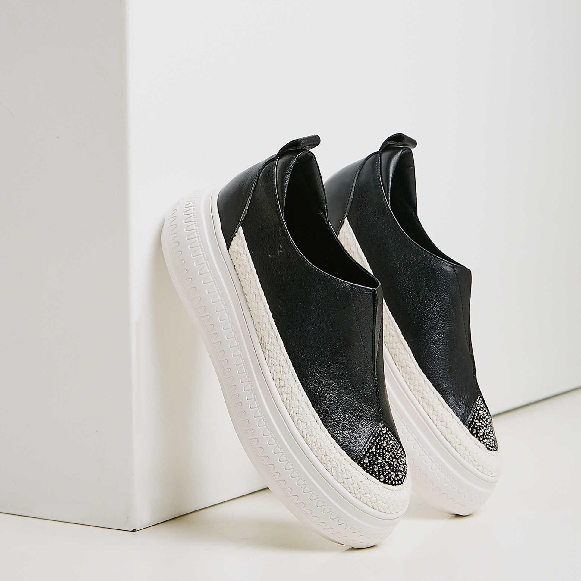 ENMAYER Lüks Ayakkabı Kadın Platformu Topuklar Hakiki Deri Yuvarlak Ayak Slip-On moda ayakkabılar 2019 Kadın Ayakkabı Mary Jane Ayakkabı