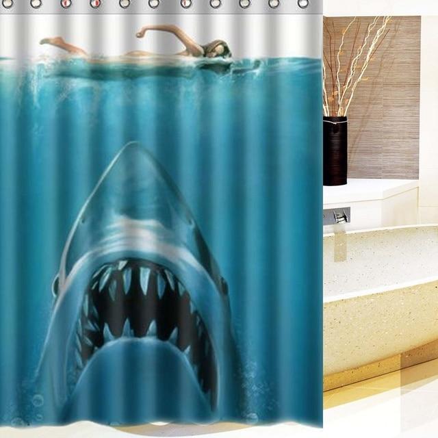 NEW!!!150x180cm Shark Underwater Jaws Theme Polyester Waterproof ...