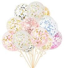 5 sztuk 12 cali balony konfetti jasne balony wesele dekoracja dzieciak dzieci materiały urodzinowe zabawki Ballon powietrza
