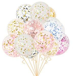 Image 1 - 5Pcs 12 zoll Konfetti Luftballons Klar Ballons Party Hochzeit Party Dekoration Kid Kinder Geburtstag Partei Liefert Luft Ballon Spielzeug