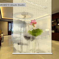 MOMO Roller Shades Blinds Blackout Lotus Window Curtains Roller Shades Blinds Thermal Insulated Fabric Custom Size, Alice 425