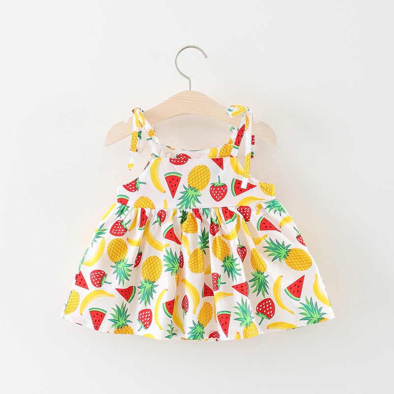 Детское праздничное платье с фруктовым узором, новое летнее платье с круглым вырезом для девочек, детское платье на бретелях, одежда для девочек, милое детское платье на день рождения