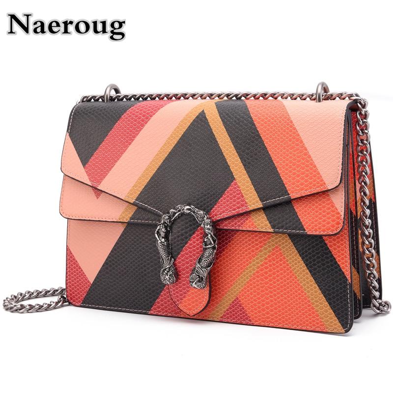 все цены на Fashion Chain Casual Shoulder Bag Messenger Bag Hit Color Serpentine Leather Patchwork Women Bag Ladies' Flap Clutch Purse