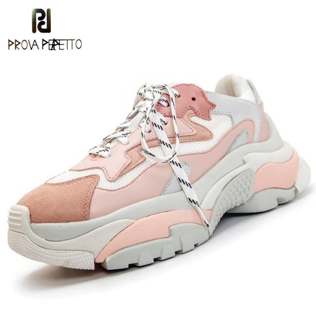 Prova Perfetto натуральная кожа сетка Для женщин платформы коренастый кроссовки 2018 модные женские туфли на плоской толстой женская обувь с мягкой стелькой папа обувь