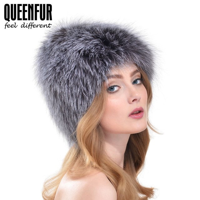 QUEENFUR Knitted Silver Fox Fur Cap Genuine Fox Fur Casual Women Hat 2016 Winter New Fashion Lady Real Fur Beanies