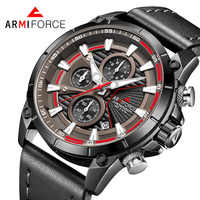 ARMIFORCE Mens Watches Top Brand Luxury Quartz Watch Men Calendar Leather Military Waterproof Sport Wristwatch Relogio Masculino