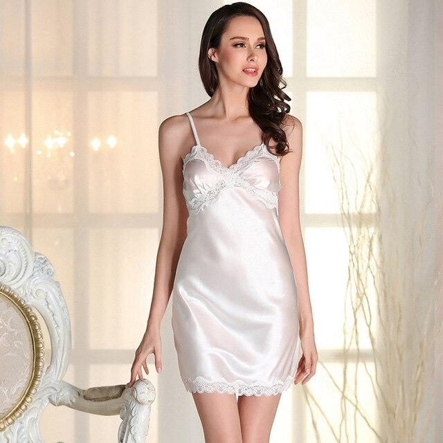 Fashion women's Nightwear Free Shipping Lace Silk Satin Nightgowns Luxury Elegant Mini Sleepwear Temptation Nightdress Hot Items