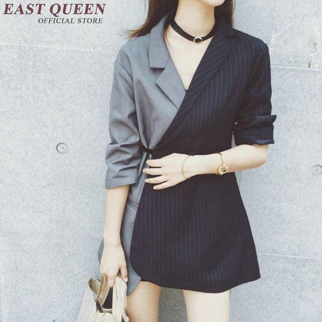 cc24372814e0f Half sleeve striped jacket women 2018 women business casual clothing  patchwork women blazers and jackets NN0421 Q
