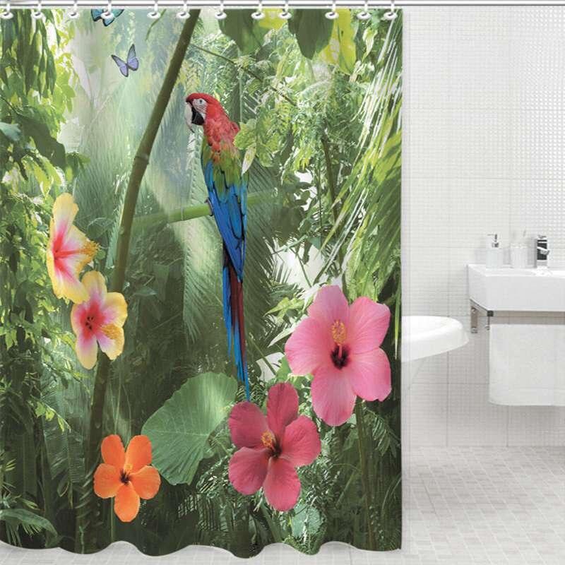 Loro 3D flor de bambú cortina de ducha impermeable baño cortina cortina de polié