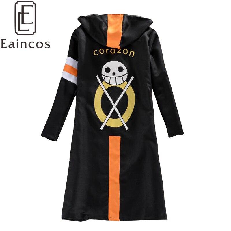 Anime One Piece Trafalgar Law Noir Manteau Cape Robe Cosplay Costume d/'Halloween
